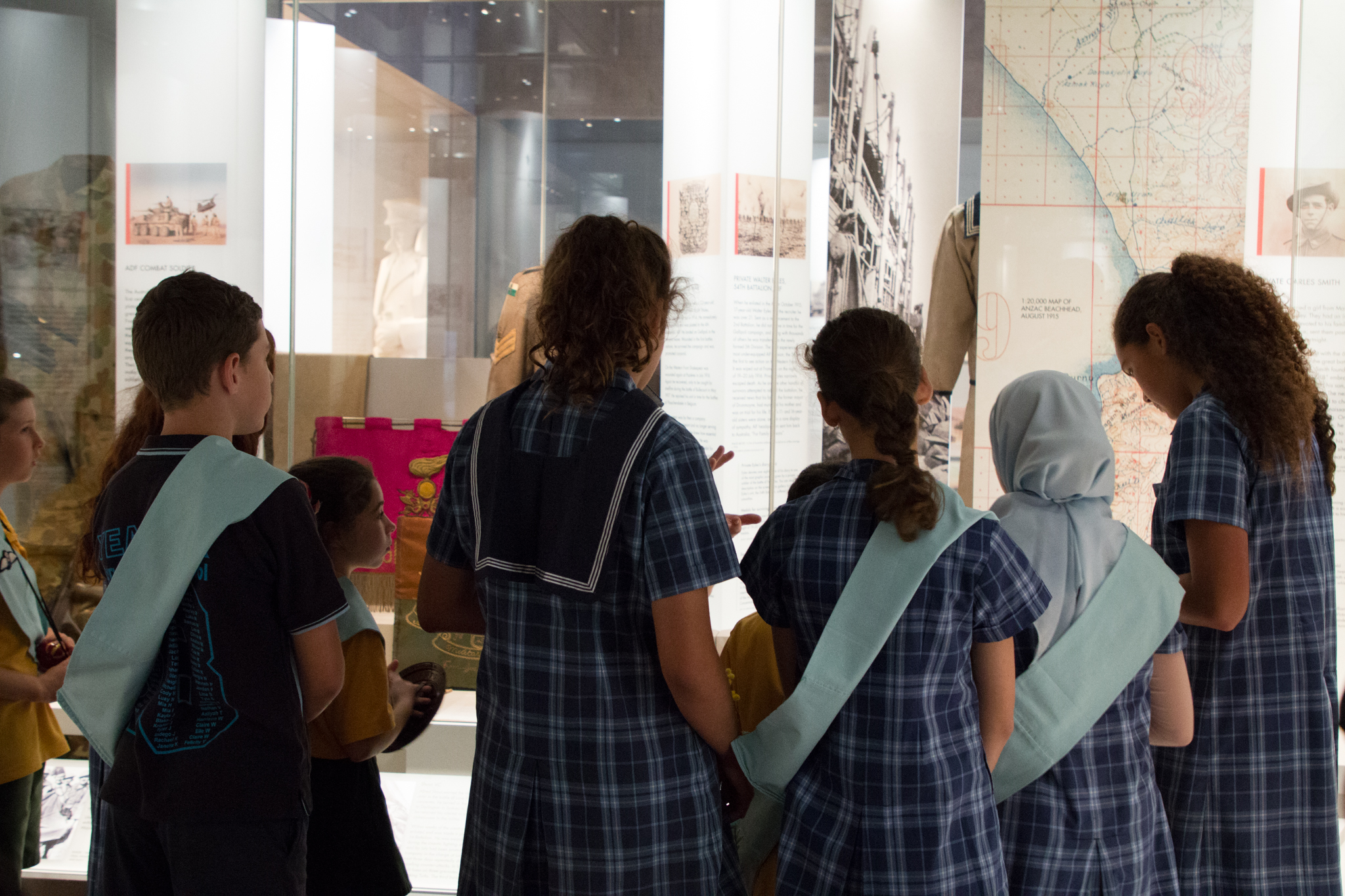 Stage 3 students viewing exhibition in the Centenary Extension