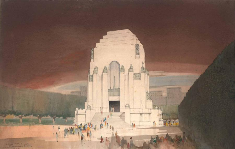Another of the watercolour paintings Dellit submitted as party of his competition entry  - Courtesy Mitchell Library, State Library of NSW