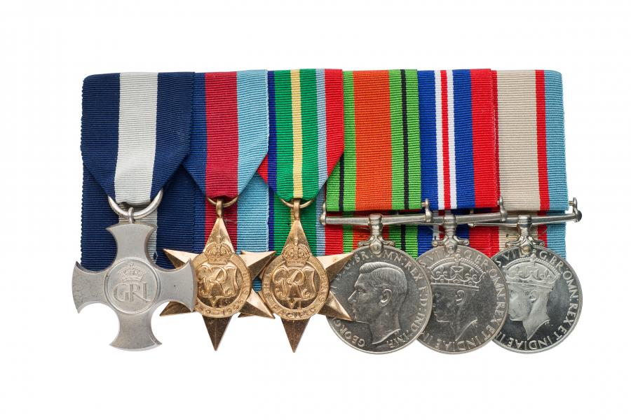 Harvey's Distinguished Service Cross and service medals, 1942.