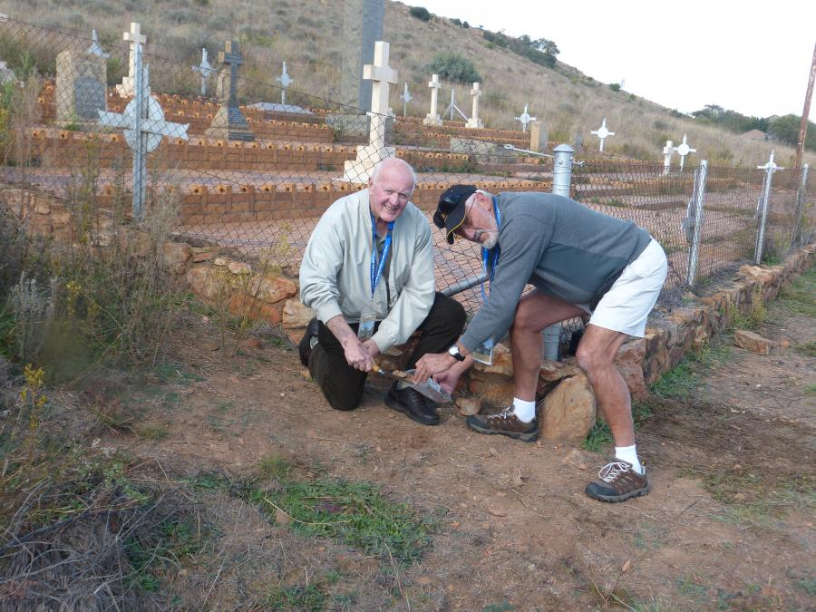 Ross Taylor and John Howells, both of the NSW Lancers Association, collecting soil from the Diamond Hill Military Cemetery in South Africa.
