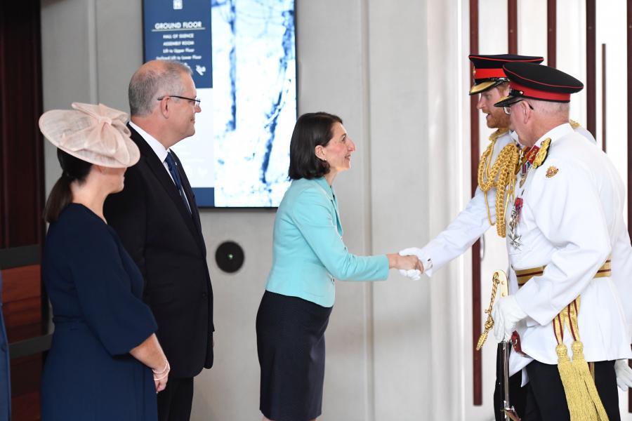 The Premier greets HRH Prince Harry