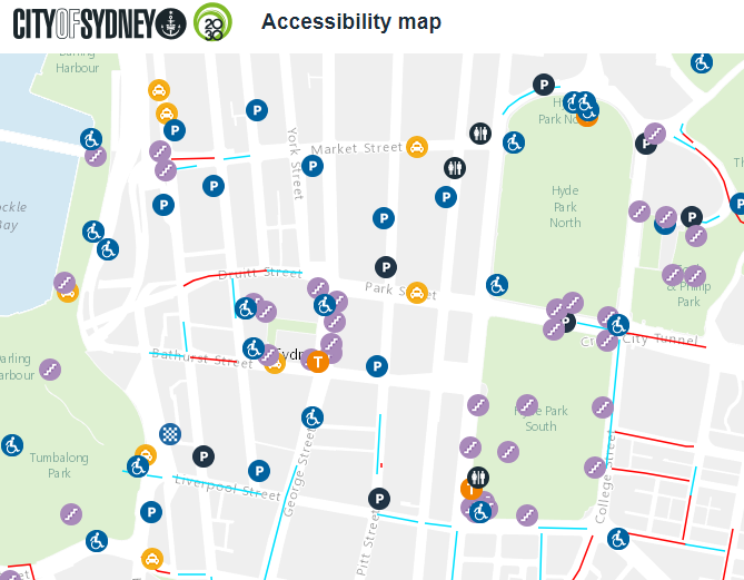 Screenshot of City of Sydney's online accessibility map. To view the live map visit  http://maps.cityofsydney.nsw.gov.au/accessibility-map/