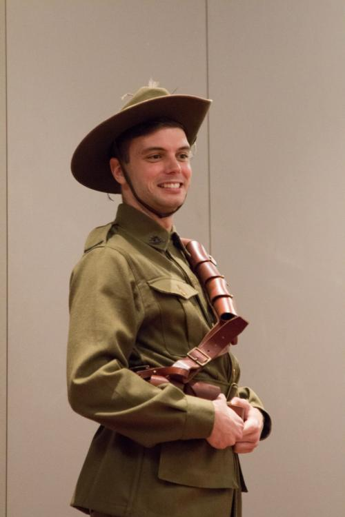 Member of the Learning Team dressed as an Anzac Light Horseman
