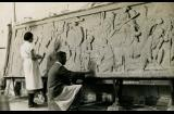 Eileen McGrath and Rayner Hoff working on a relief - courtesy Sylvia Embling archive
