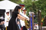 The Duke and Duchess lay their wreath