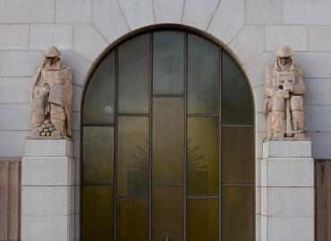 ANZAC Memorial window and external sculptures