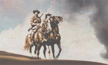 Illustration of two Australian Light horsemen on their horses in the dessert